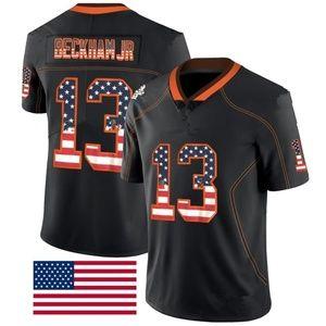 OBJ Beckham Jr USA Flag Black Color Rush Jerseys